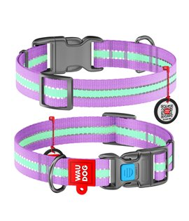Dog Collar WAUDOG Nylon glows in the dark - PURPLE