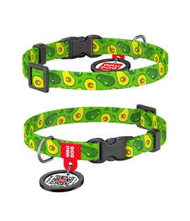 Dog Collar WAUDOG Nylon with pattern - Avocado