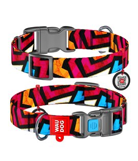 Dog Collar WAUDOG Nylon with pattern - Graffiti
