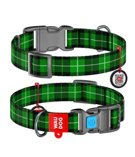 Dog Collar WAUDOG Nylon with pattern - Green Plaid