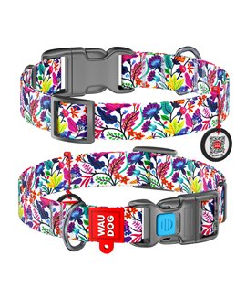 Dog Collar WAUDOG Nylon with pattern - Magic Flowers
