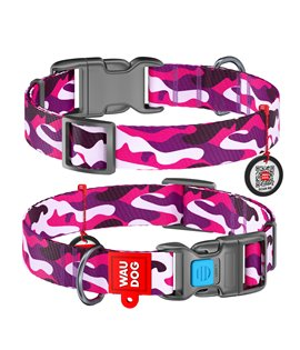 Dog Collar WAUDOG Nylon with pattern - Pink Camo