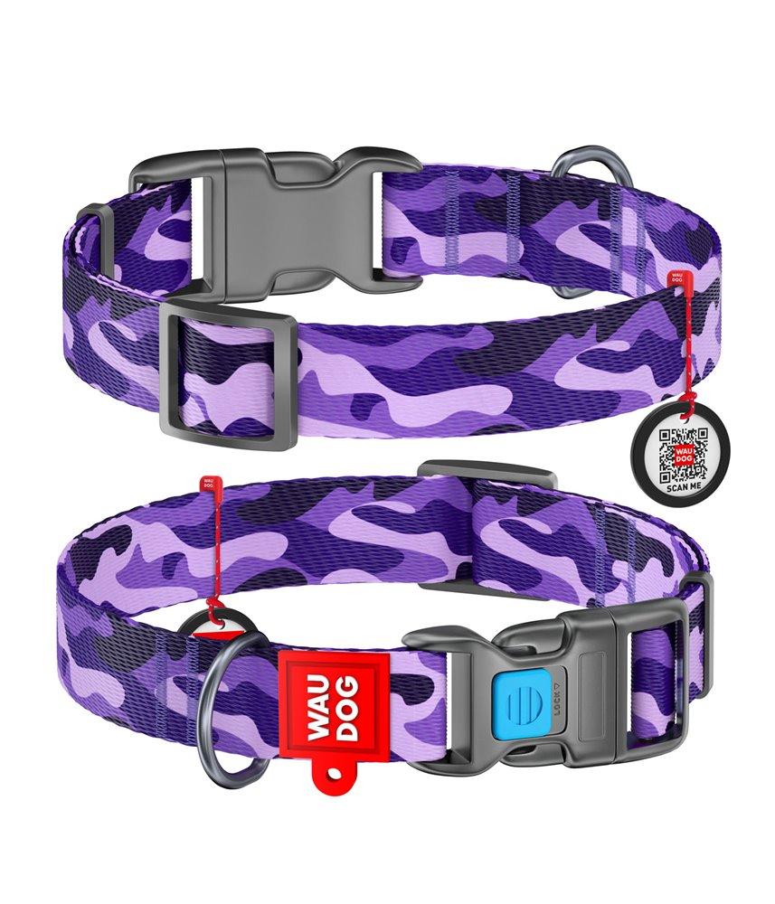 Dog Collar WAUDOG Nylon with pattern - Purple Camo