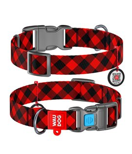 Dog Collar WAUDOG Nylon with pattern - Red Plaid