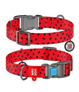 Dog Collar WAUDOG Nylon with pattern - Watermelon