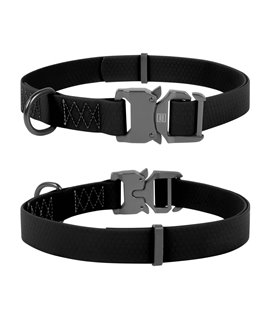Dog Collar WAUDOG Waterproof, soft and durable, fastex buckle. Black