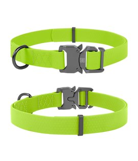 Dog Collar WAUDOG Waterproof, soft and durable, fastex buckle. LIME GREEN