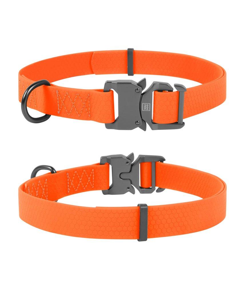 Dog Collar WAUDOG Waterproof, soft and durable, fastex buckle. ORANGE