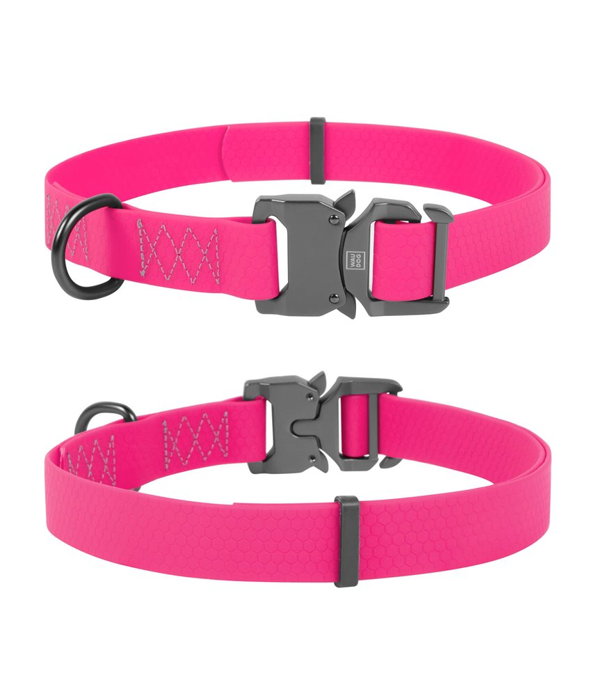 Dog Collar WAUDOG Waterproof, soft and durable, fastex buckle. PINK