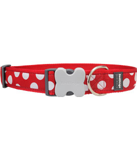 Dog Collar White Spots on Red GIANT