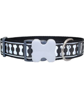 Dog Collar Reflective Bones Black GIANT