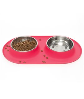Double Silicone Feeder with Stainless Bowls- Watermelon