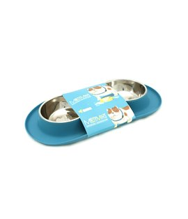 Double Silicone Feeder with Stainless Bowls- Blue