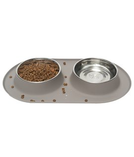 Double Silicone Feeder with Stainless Bowls- Grey
