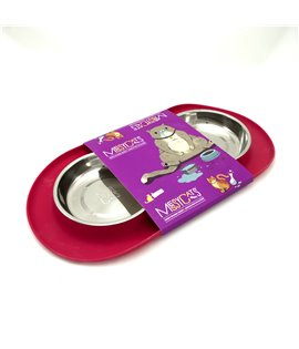 Double Silicone Feeder with Stainless Saucer Shaped Bowls - Purple