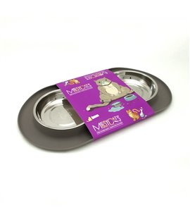 Double Silicone Feeder with Stainless Saucer Shaped Bowls - Grey