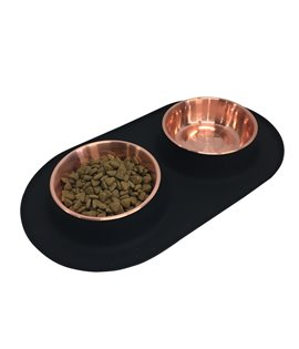 Double Silicone Feeder with Cooper Stainless Bowl