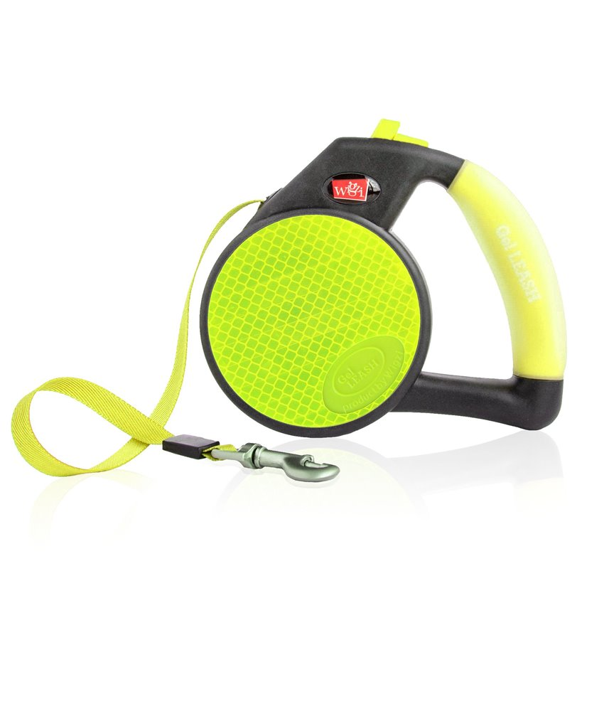 Gel Handle Reflective Tape Retractable Leash Yellow