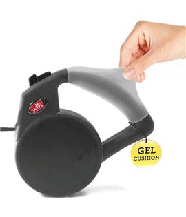 Gel Handle Reflective Tape Retractable Leash Black
