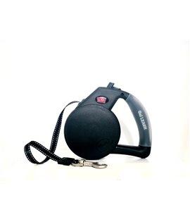 Gel Handle Reflective Tape Retractable Leash Black