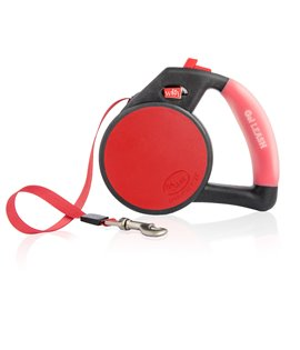 Gel Handle Reflective Tape Retractable Leash Red