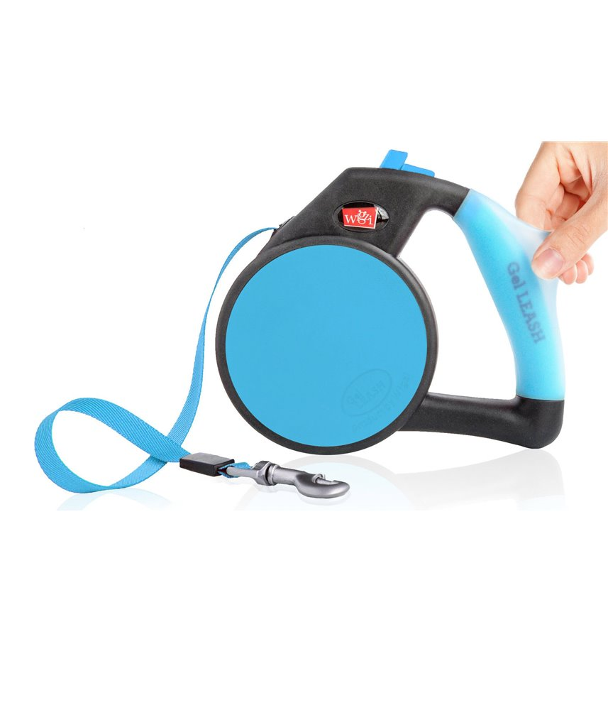 Gel Handle Reflective Tape Retractable Leash Blue