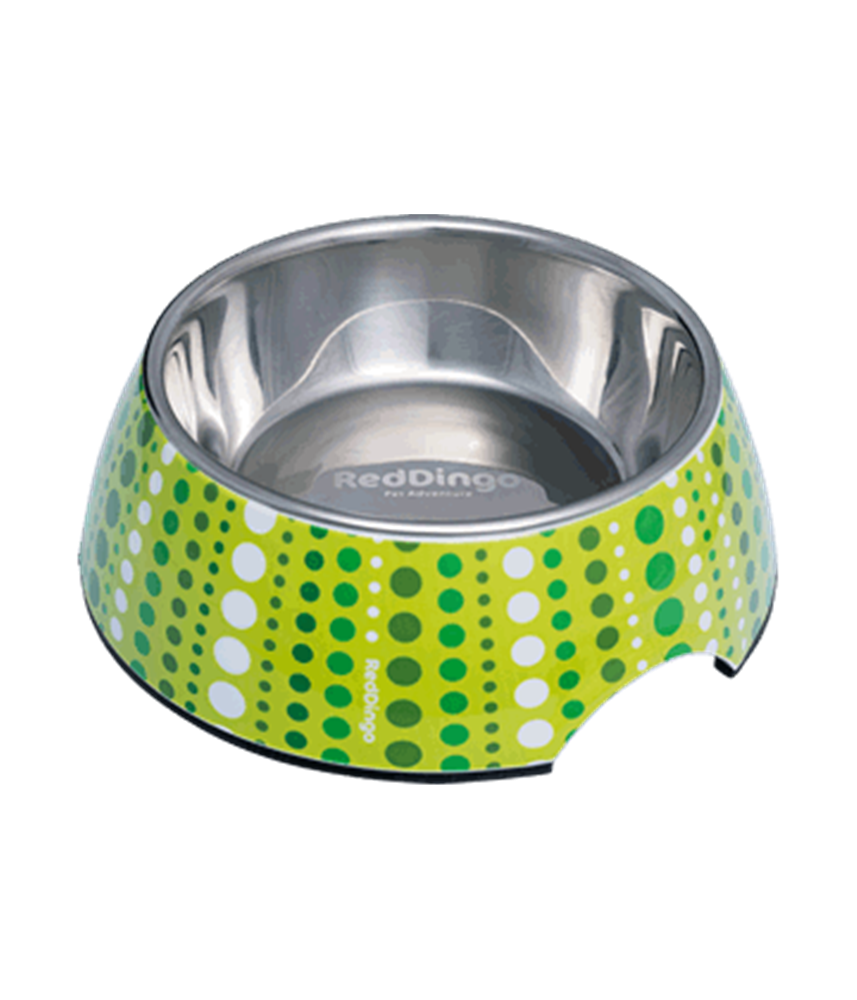 2-in-1 Dog Bowl LotzaDotz Lime Green
