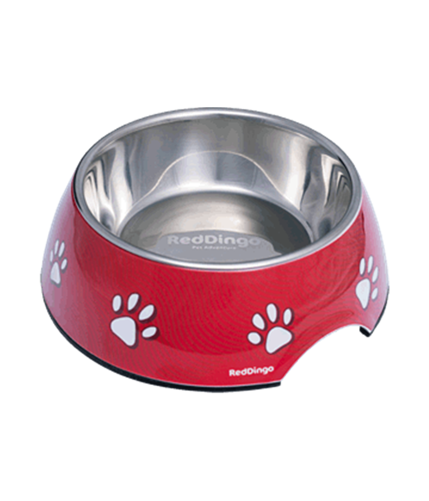 2-in-1 Dog Bowl Paw Print Red